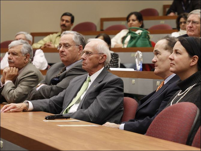 From left, S. Amjad Hussain, the Blade's Joeseph H. Zerbey IV, William Koester, PE, and Allan and Susan Allan Block attend the Confluence of Science, Journalism and Civic Leadership: The Rich Legacy of Paul Block, Jr., Ph.D., Wednesday at the University of Toledo's Health Science campus.