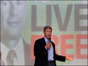 Libertarian presidential candidate Gary Johnson speaks at the Clazel Theater in Bowling Green, Ohio.