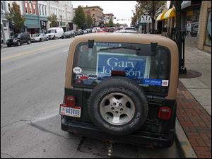 Libertarian presidential candidate Gary Johnson supporters gather downtown Bowling Green, Ohio to attend his speech at the Clazel Theater.