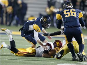 Avon Lake's Max Seipel recovers a fumble by Whitmer quarterback Nick Holley, 7.