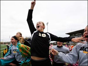 Perrysburg's Allex Brown celebrates defeating  Medina.
