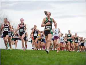 Oregon Clay runner Erin Gyurke (964) runs near the head of the pack in the Div. I race.