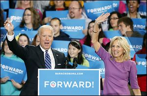 Vice President Joe Biden and his wife, Jill, greet the crowd at Terra Community College in Fremont. About 1,550 turned out for the event Sunday.
