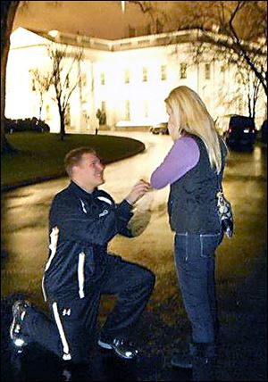 Ben Pike proposed to Ashlee Barrett on the White House driveway during the UT football team's trip to Washington last December for the Military Bowl.
