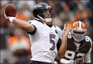 Baltimore Ravens quarterback Joe Flacco (5) passes against the Cleveland Browns in the fourth quarter of an NFL football game in Cleveland.