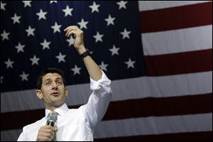 Republican vice presidential candidate, Rep. Paul Ryan, R-Wis., speaks at a campaign event, Saturday in Marietta, Ohio.