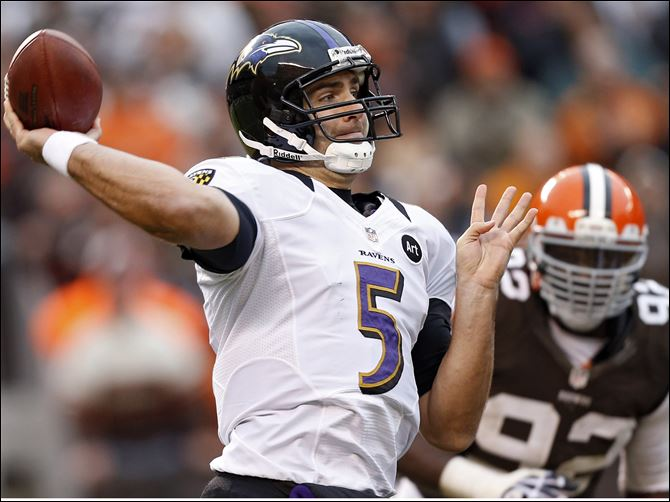 Ravens Browns Football Baltimore Ravens quarterback Joe Flacco (5) passes against the Cleveland Browns in the fourth quarter of an NFL football game in Cleveland.