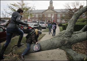 A woman and her son scramble over a tree toppled by Superstorm Sandy as she accompanies him today to Public School 195, background, in the Manhattan Beach neighborhood of the Brooklyn borough.
