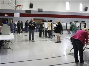 Voters cast their ballot at Lambertville United Methodist Church.