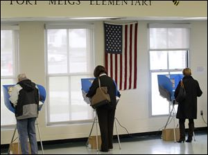 Voters cast their ballots at  Fort Meigs Elementary School.