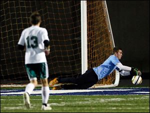 Southview goalie Eric Breeden blocks a shot.