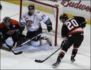 Walleye forward Byron Froese (24), a 21-year-old from Manitoba, is tied for the team lead with seven points. He was a fourth-round selection of the Chicago Blackhawks in 2009.