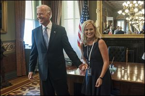 Vice President Joe Biden with actress Amy Poeher, who plays Leslie Knope on the NBC comedy