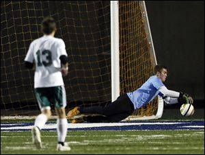 Sylvania Southview's goalie Eric Breeden had nine saves, including this one, in the shutout win.