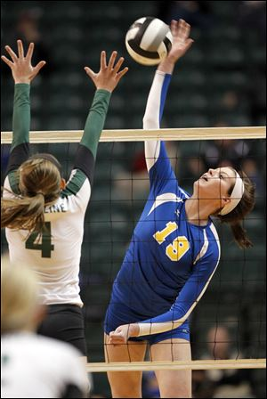 St. Ursula's Maddie Burnham, 19, led the team with 17 kills in the game.