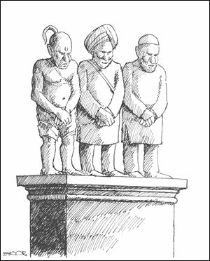 This illustration of a suggested monument has, from left, a Hindu, a Sikh, and a Muslim with an inscription: 'We are ashamed of what we did to each other at the time of the Partition.'