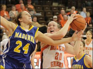 BGSU's Allison Papenfuss drives in the lane.