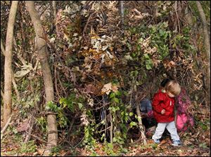 Maumee resident James Gillen, 3, exits a large kid-made squirrel's nest.