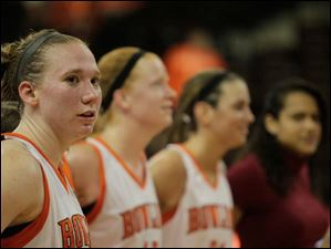 BGSU forward Allison Papenfuss and teammates singing the alma mater after the game.