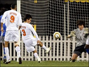 Sylvania Southview's Jared Yoshino takes a shot on goal.