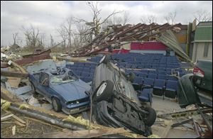 Jim Boyd's five-screen movie theater was destroyed when tornado-laden storms swept through Van Wert on Nov. 10, 2002. About 60 customers were inside.
