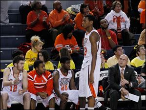 BGSU's Richaun Holmes fouls out during 2nd half.