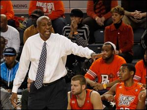 BGSU head coach Louis Orr instructs his team against Cleveland state Monday night.