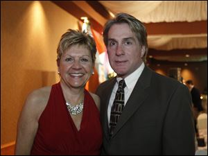 "Radio personality Mary Beth Zolik, seen here last year with fellow emcee Rick Woodell at the American Heart Association's 14th annual Glass City Heart Ball ""Swing into Spring,"" learned she had cancer this week."