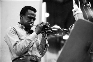 Musician Miles Davis is shown during recording session in 1959 for
