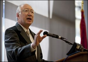 Secretary of the Interior Ken Salazar during a news conference in March, 2011, in Cheyenne, Wyo.