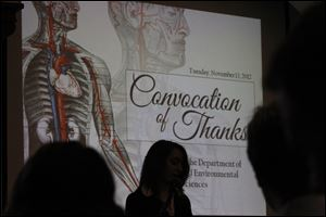 Student Gabrielle Mintz speaks during a Convocation of Thanks program Tuesday at Heidelberg University in Tiffin.
