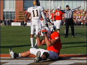 BGSU's Alex Bayer reacts to missing a touchdown pass.