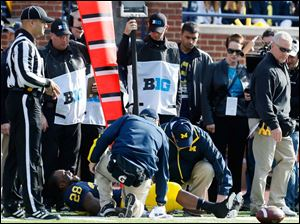 Michigan RB Fitzgerald Toussaint (28) is injured on a play.