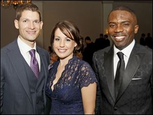 Aaron and Stacey Ramseyer with Valentine Ononye at the Kidney Foundation's Wine Affair.