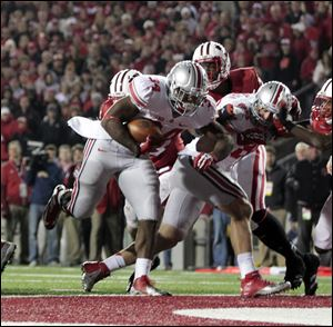 OSU's Carlos Hyde scores the game-winning touchdown against Wisconsin in overtime.