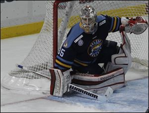 Goalie Kent Simpson nearly posted his first shutout. Simpson, who also had an assist, did not give up a goal until 1:48 was left and finished with 23 saves.