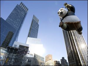 The Kung Fu Panda balloon floats in the Macy's Thanksgiving Day Parade in New York in New York.