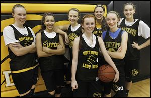 Northview players from left: Maddie Cole, Rahma Ismail, Lauren Yurjevic, Maddie Fries, Kendall Jessing, Lauren Keil and Kendall McCoy.
