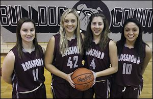 From left: Rossford basketball players Margo Jackson, Alaina Mitchell, Julie Hotz and Courtney Morris.