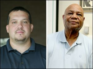 Construction unions are supporting Shaun Enright, left, to succeed Phil Copeland on Toledo City Council.
