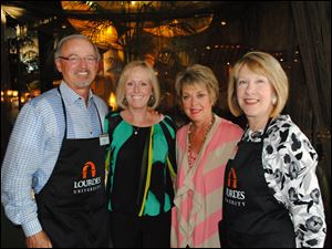 Mike and Sondra Gibson, Nancy Kabat, and Mary Arquette at the Lourdes University Celebrity Wait Night.