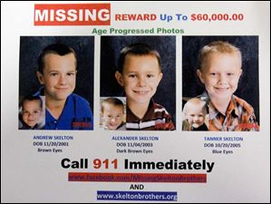 A missing persons poster shows age-progression portraits of Andrew, Alexander, and Tanner Skelton who disappeared November, 2010.