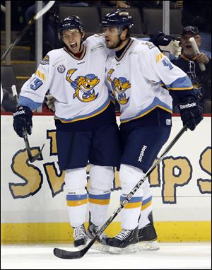 Phil Oreskovic (4) scored his first goal for the Walleye on Sunday.