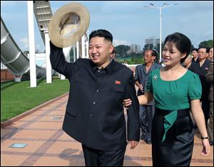 North Korean leader Kim Jong Un, accompanied by his wife Ri Sol Ju in July.