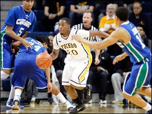 University of Toledo guard Julius Brown comes up with ball against Texas A&M-Corpus Christi.
