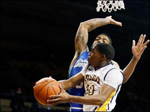 University of Toledo guard Julius Brown looks to make a play in the post.