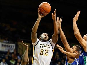 University of Toledo forward Reese Holliday goes up for a jumper.