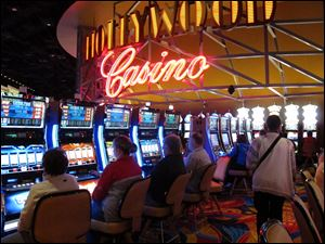 Gamblers play the slot machines as the Hollywood Casino Columbus which opened in October.