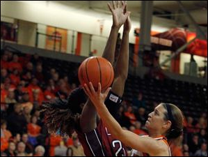 Temple's Victoria Macaulay attempts to block the path of BGSU's Chrissy Steffen as she goes up for a shot.