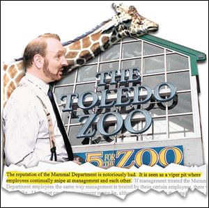 A review of George the giraffe's death in 2001 cited communication problems in the mammal department. After consultant Scott Warrick, foreground, came on board, some employees complained that he was infl aming tensions within that department. The mammal department was the topic of this entry in one of Mr. Warrick's reports.